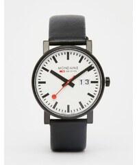 Mondaine - Montre avec affichage de la date et bracelet en cuir 40 mm - Noir - Noir