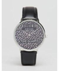 Reclaimed Vintage - Montre à bracelet en cuir à petites fleurs - Noir - Noir