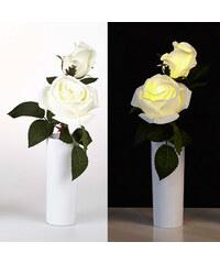 Lunio Living LED-Blume mit Vase Rosenpaar - Weiß