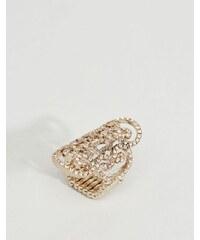 Lipsy - Bague en filigrane avec pierres incrustées - Doré