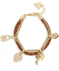 GUESS GUESS Gold-Tone and Faux-Leather Charm Bracelet - camel