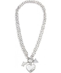 GUESS Guess Silver-Tone Heart Link Necklace - silver