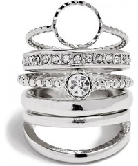 GUESS GUESS Silver-Tone Dainty Ring Set - silver