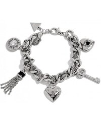 GUESS GUESS Silver-Tone and Black Link Charm Bracelet - silver