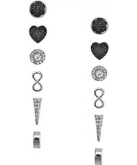 GUESS GUESS Silver-Tone Bling and Heart Stud Earrings Set - silver