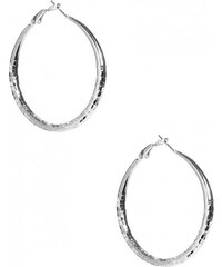 GUESS GUESS Silver-Tone Medium Textured Hoops - silver