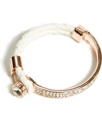 GUESS GUESS White and Rose Gold-Tone Woven Metal Bracelet - white