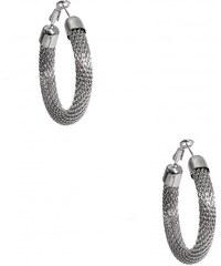 GUESS GUESS Silver-Tone Mesh Hoop Earrings - silver
