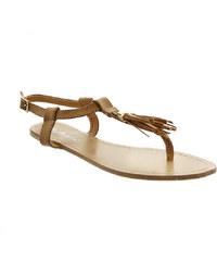 Lesara Zehentrenner-Sandale mit Tasseln - Braun - 36