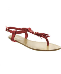 Lesara Zehentrenner-Sandale mit Tasseln - Rot - 36