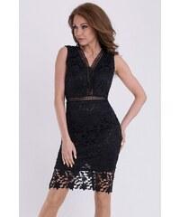 YNS Dámské šaty EMAMODA pokryté výšivkou černé