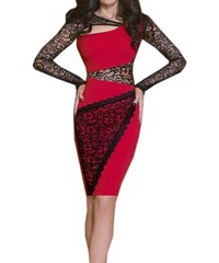 LM moda A Pouzdrové šaty červené s krajkou MOO94 ad75ca667c