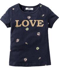 bpc bonprix collection T-shirt pailleté, T. 80/86-128/134 bleu manches courtes enfant - bonprix