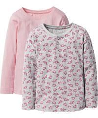 bpc bonprix collection Lot de 2 T-shirts à patte de boutonnage, T. 116/122-164/170 gris manches longues enfant - bonprix