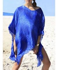 Beliza Poncho en soie - bleu classique