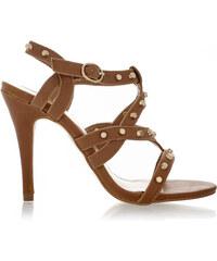 Timeless Hnědé sandálky na podpatku Obelia se zlatými cvočky