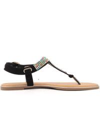 Timeless Černé sandálky s barevnými krystaly