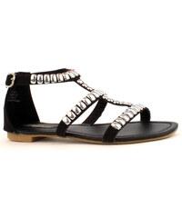 Park Lane Shoes Černé kožené sandály Park Lane se stříbrnými cvočky