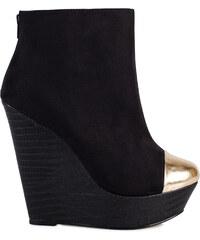 Černé kotníkové boty na klínku se zlatou špičkou Timeless