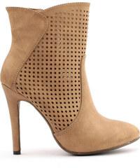 Hnědé děrované boty na podpatku Trendy too