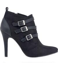 1795910629ec Černé boty na podpatku s pásky Alex Silva