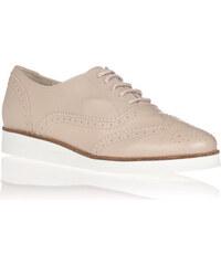 Béžové kožené boty na bílé podrážce María Jaén