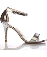 Stříbrné sandály na podpatku Monshoe
