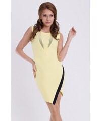 YNS Dámské krátké párty společenské šaty EMAMODA žluté