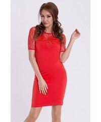 YNS Dámské společenské šaty s krátkým rukávem EMAMODA červené