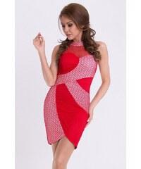 YNS Dámské společenské šaty EMAMODA bez rukávů červené
