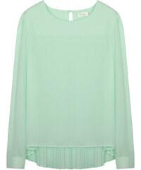 Lesara Langarm-Bluse mit gekreppter Rückenpartie - Mint - S