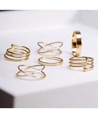 Lesara 6-teiliges Ring-Set im Goldton