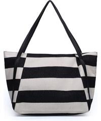 Lesara Strandtasche mit Streifen - Schwarz-Weiß