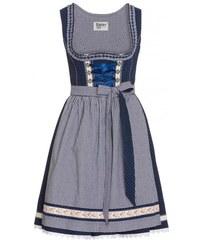 Distler Damen Blaues Kurzdirndl mit Spitze- 60 cm blau aus Baumwolle
