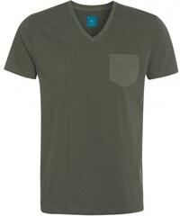 COOL CODE Herren T-Shirt körperbetont V-Ausschnitt grün aus Baumwolle
