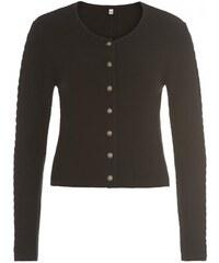 Distler Damen Strickjacke Cardigan figurnah schwarz aus Baumwolle
