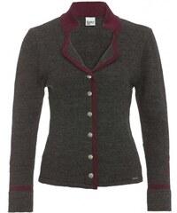Distler Damen Strickjacke Cardigan Artikel fällt größer aus figurnah grau mit Wolle