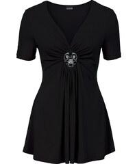 BODYFLIRT T-shirt avec broche amovible noir manches courtes femme - bonprix