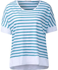 Cecil - T-shirt rayé color-block - bleu topaz