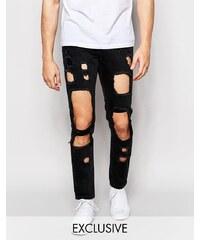 Brooklyn Supply Co - Enge Jeans mit Cutourts in gewaschenem Schwarz - Schwarz