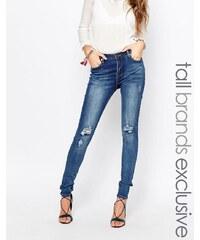Liquor & Poker Tall - Jean super skinny taille mi-haute avec déchirures aux genoux - Bleu