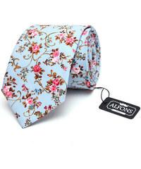 Alfons.cz Světle modrá kravata s květinovým motivem