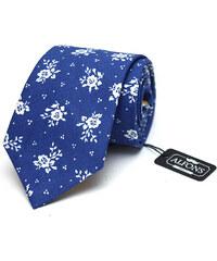 Alfons.cz Sytě modrá kravata s bílými květinovými detaily