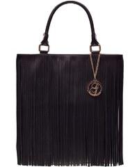 Glamorous by Glam Dámská kožená kabelka s třásněmi černá