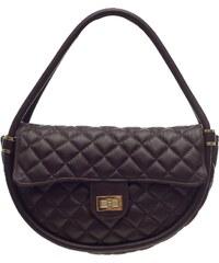 Glamorous by Glam Jedinečná kožená malá prošívaná kabelka tmavě hnědá