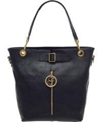 Glamorous by Glam Dámská kožená kabelka se zipem černá