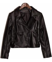 Glam Dámská koženková bunda se zipy - černá