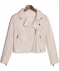 Glam Dámská koženková bunda se zipy - bílá