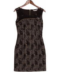 Glamorous by Glam Dámské černo - béžové šaty s krajkou a řetízkem