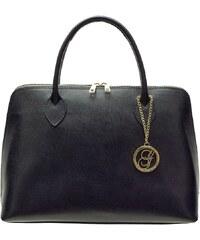 Glamorous by Glam Černá kožená kabelka ražená